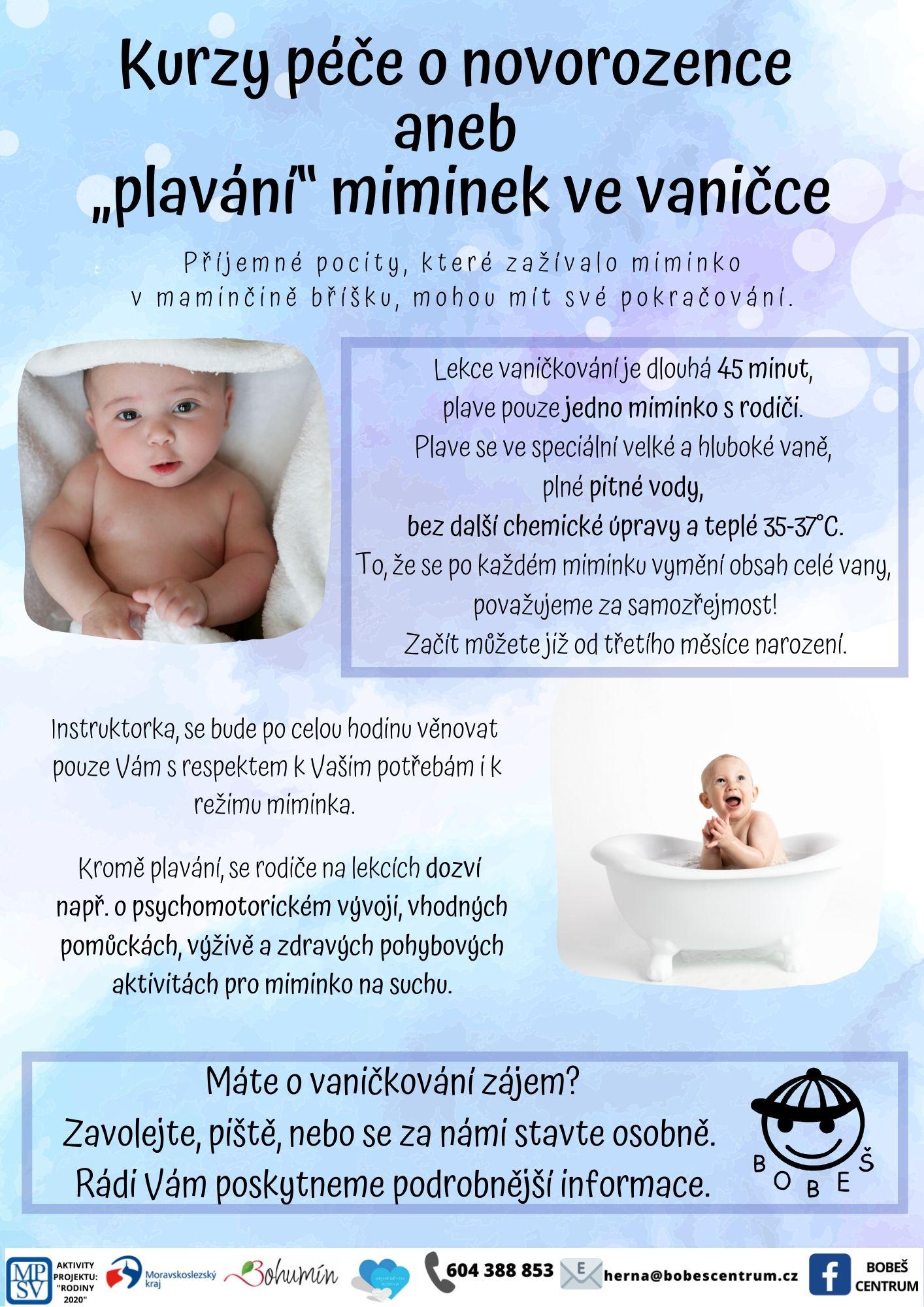 """Kurzy péče o novorozence aneb """"plavání"""" miminek ve vaničce"""
