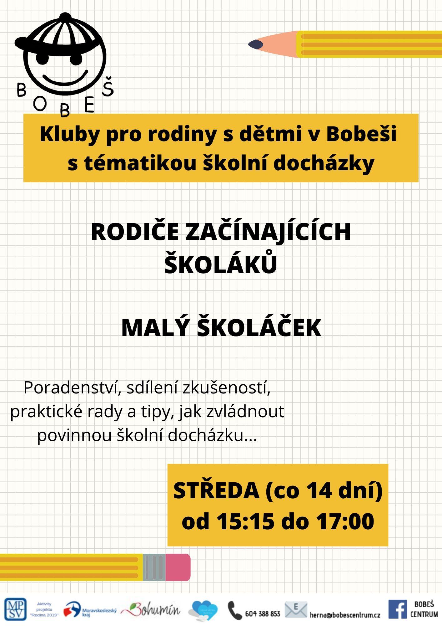 Kluby pro rodiny s dětmi v Bobeši s tématikou školní docházky
